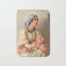 Madonna and Child Jesus with Angels Virgin Mary Art Bath Mat