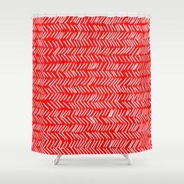 Scarlet Herringbone Lines Shower Curtain