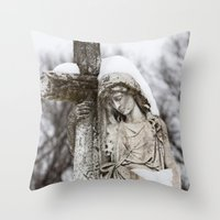 religious Throw Pillows featuring Religious Statue by Legends of Darkness Photography