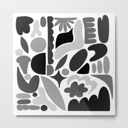 Modern Organic Abstract / Black and Grays on a White Background Metal Print