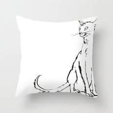 Skinny cat illustration Throw Pillow