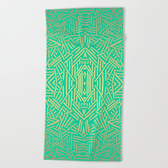 Radiate (Yellow/Ochre Teal- non metallic) Beach Towel