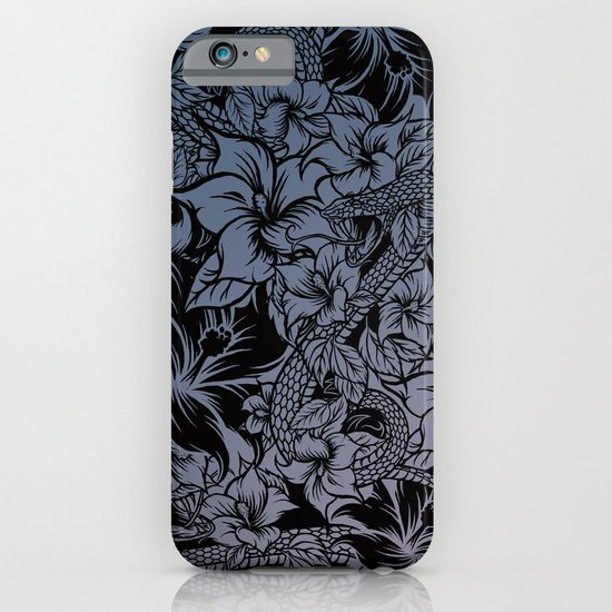 Snaky Fleur, Blue Fade iPhone & iPod Case