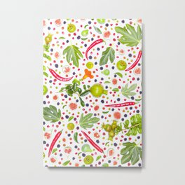 Fruits and vegetables pattern (7) Metal Print