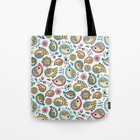 Hedgehog Paisley_Colors and White Tote Bag