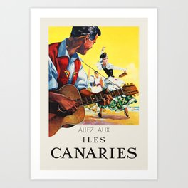 Canary Islands - Vintage travel poster by N. Revost, 1950 Art Print