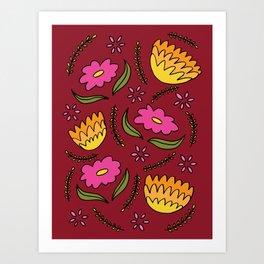 May Flowers Burgundy Art Print