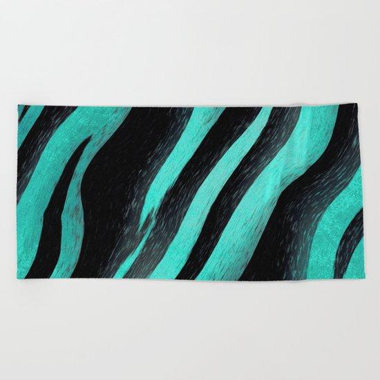 Cyan Zebra  Beach Towel