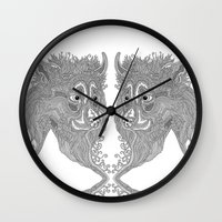beast Wall Clocks featuring Beast by Olya Goloveshkina