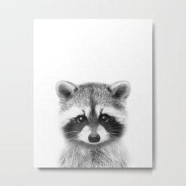 Baby Raccoon Black & White, Baby Animals Art Print by Synplus Metal Print