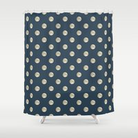 polka dot Shower Curtains featuring Full Moon Polka Dot by Paula Belle Flores
