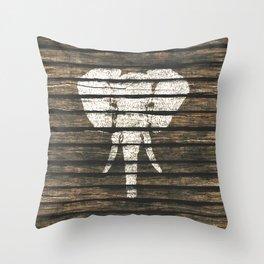 Whimsical White Elephant Vintage Brown Stripe Wood Throw Pillow