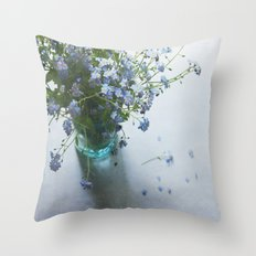 Forget-me-not bouquet in Blue jar Throw Pillow