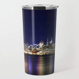 Midtown Manhattan Reflecting on the East River Landscape Painting by Jeanpaul Ferro Travel Mug