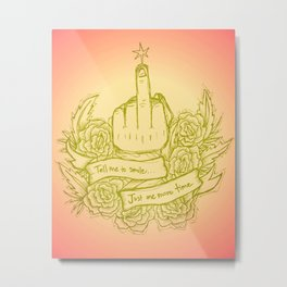Tell Me to Smile - pink, yellow, green, gold, peach Metal Print
