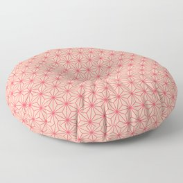 Red Japanese Hemp Kimono Pattern Floor Pillow