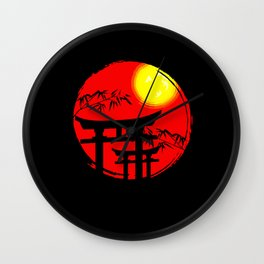 Japanese Sun Temple Japan Wall Clock