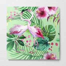 seamless pattern watercolor pink flamingo flowers and tropical leaves Metal Print