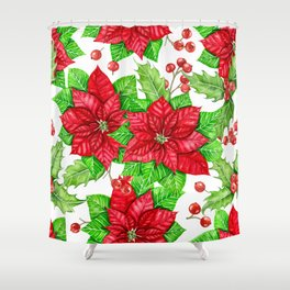 Poinsettia and holly berry watercolor Christmas pattern Shower Curtain