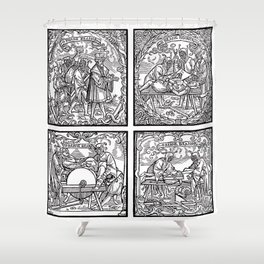 Depositing the Horns - Initiation Ritual Shower Curtain