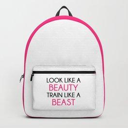 Look Like A Beauty / Train Beast Gym Quote Backpack