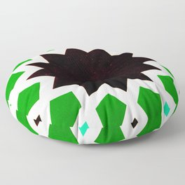 Oriental andalusia geometric ornament pattern in green Floor Pillow