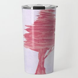 Red Tree watercolor on old paper Travel Mug