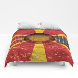 Old Vintage Acoustic Guitar with Macedonian Flag Comforters