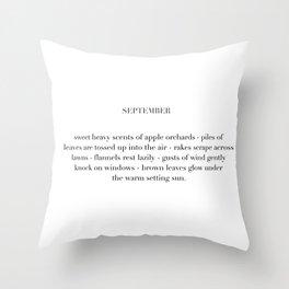 september poem Throw Pillow
