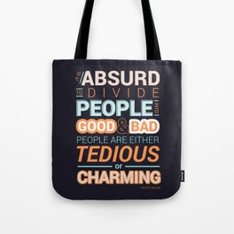 Oscar Wilde Charming Quote Poster Tote Bag