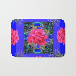 CONTEMPORARY PINK ROSES & PEACOCK FEATHERS BLUE ART Bath Mat