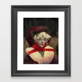 Red hat vintage Christmas doll Framed Art Print