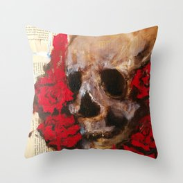 Skull and red roses Throw Pillow