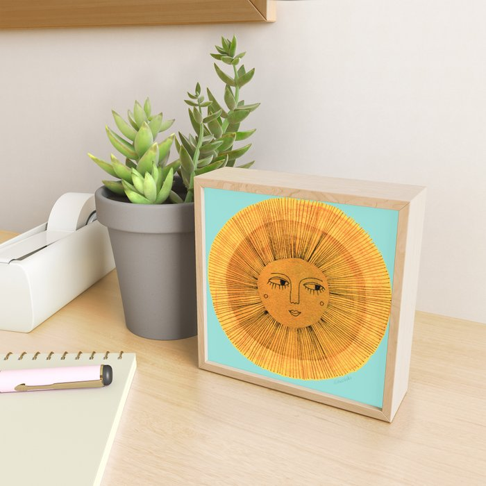 Sun Drawing Gold and Blue Framed Mini Art Print