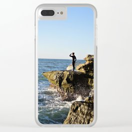 Scouting The Waves Clear iPhone Case