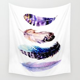 Watercolor Feathers Wall Tapestry