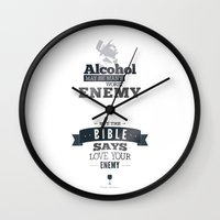 frank sinatra Wall Clocks featuring Frank Sinatra Quote by TOP DOGS by fluxographix