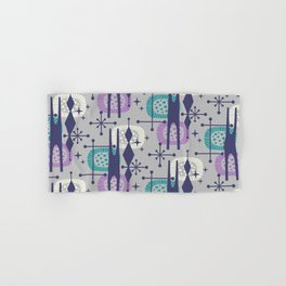 Retro Atomic Mid Century Pattern Grey Teal Blue and Lavender Hand & Bath Towel