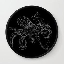 Midnight Floral Cephalopod Wall Clock