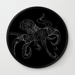 Midnight Floral Cephalopod Wall Clock