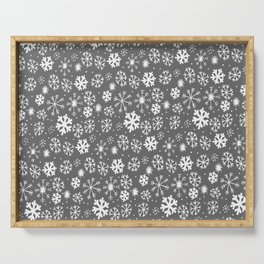 Snowflake Snowstorm With Silver Grey Gray Background Serving Tray
