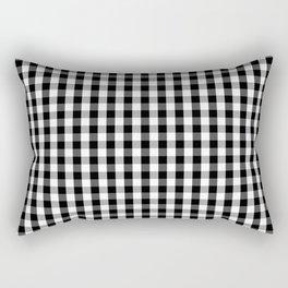 Small Black White Gingham Checked Square Pattern Rectangular Pillow