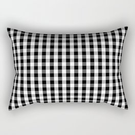 Small Black White Gingham Checked Square Pattern Rectangular Pillow