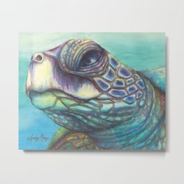 Sea Turtle Gaze Metal Print