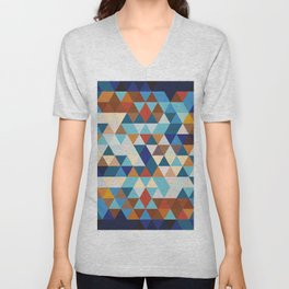 Geometric Triangle Blue, Brown  - Ethnic Inspired Pattern Unisex V-Neck