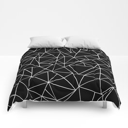 Abstraction Outline Black and White Comforters