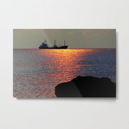 Sunset in Curacao Metal Print