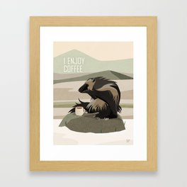 Wolverine Enjoys Coffee Framed Art Print