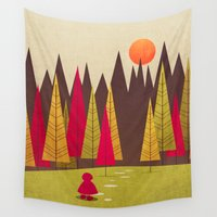 red riding hood Wall Tapestries featuring Little Red Riding Hood by Annisa Tiara Utami