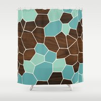 geode Shower Curtains featuring Geode in Blue by jefdesigns